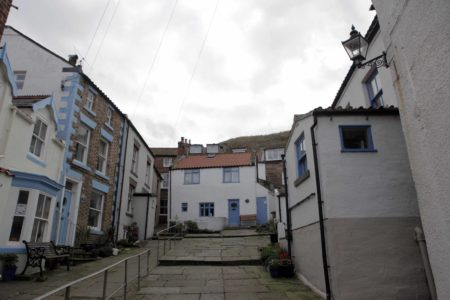 Staithes Houses with Blue Accents