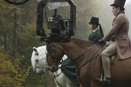 Jenna Coleman on horseback in 'Victoria' filming at Bramham Park, Leeds