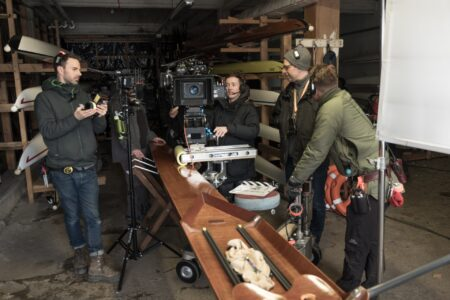 Behind the scenes shot of Official Secrets filming at Roundhay Boathouse