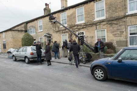 Behind the scenes shot of Official Secrets filming at Boston Spa