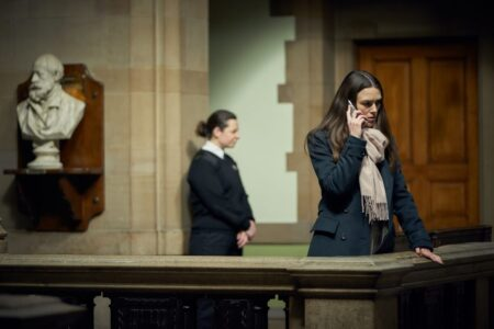 Keira Knightley in a scene filmed at Bradford City Hall