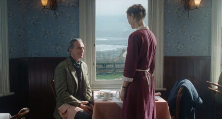 Daniel Day-Lewis (Reynolds) and Vicky Krieps, (Alma) in Phantom Thread, filmed in Robin Hood's Bay