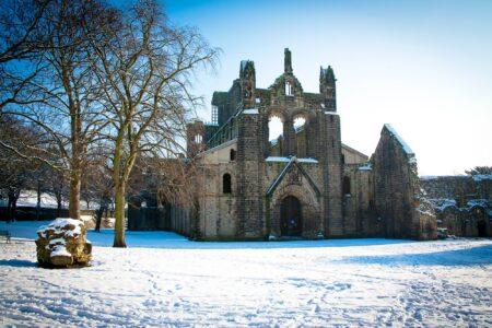 Kirkstall Abbey in snow