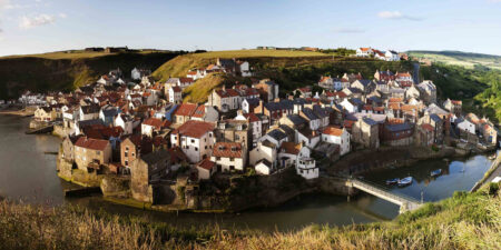 Staithes from Cowbar panoramic - photo by Mike Kipling